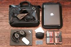 CM_International (carlmaldonado) Tags: bags briefcase black headphones travel montblanc sennheiser travelpro apple pencilcase sonnenleder briggsriley