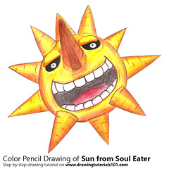 Sun from Soul Eater with Color Pencils [Time Lapse] (drawingtutorials101.com) Tags: sun soul eater japanese manga atsushi okubo souleater sketching sketch sketches pencil draw drawing drawings color coloring how timelapse video
