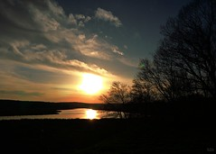 Sun Falling into the Quaboag River (blamstur) Tags: sun sunset silhouette clouds quaboagriver brookfield massachusetts