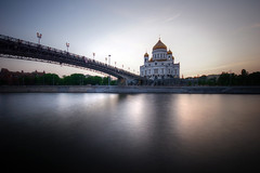 evening in moscow (mariusz kluzniak) Tags: city bridge light sunset river lens evening europe long exposure christ angle cathedral russia moscow sony low capital wide sigma super calm east filter nd alpha 1020mm eastern 77 slt density lenses a77 neutral saviour