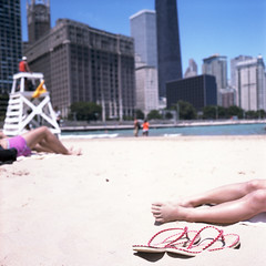 taking a sunbath (Petit Ming) Tags: usa chicago film rolleiflex kodak epson navypier portra schneider 160 75mm 35f v700 xenotar silverfast gtx900 july4th2012