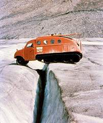 Over The Crevasse (Mark Faviell Photos) Tags: malcolm columbia crevasse icefields 1961 snowcat faviell