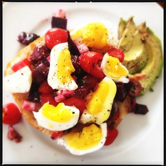lunch (rcakewalk) Tags: avocado tomatoes eggs beets softboiledegg uploaded:by=flickrmobile flickriosapp:filter=nofilter