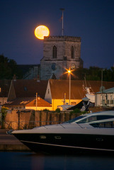 St James, the moon and the Sunseeker (1 other people) Tags: uk england urban moon church night pentax moonrise dorset poole nightfall sunseeker pooleharbour holesbay grahamhobbs