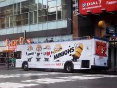 Minions Despicable Me 2 - Double Decker Bus AD 2625 (Brechtbug) Tags: from street new york city 2 two bus love me yellow computer movie poster square with heart you near character cartoon ad evil double billboard u transportation animation if inventor times critters genius avenue villain honk 6th 43rd taxicab gru mastermind decker minions despicable minion standee henchmen 2013
