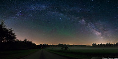 Arching Galaxy (kevin-palmer) Tags: road trees summer sky panorama field grass june fog night forest dark stars illinois arch stitch state space foggy sagittarius galaxy astrophotography astronomy starry arching lightpollution milkyway manito nebulas masoncounty forestcity sandridge samyang airglow pentaxk5 bower14mmf28