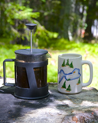 late morning cabin coffee by the lake (wplynn) Tags: lake coffee wisconsin french beans chain etc press moen rhinelander