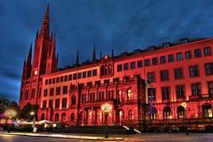 Rathaus Wiesbaden (nils84) Tags: church night germany deutschland town hall wiesbaden hessen rathaus hdr marktkirche