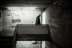 Cold War (Pensiero) Tags: door man berlin scale concrete coat bunker staircase spy porta cemento entering spie berlino spia boros guerrafredda cappotto