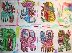 monsters-for-aceo (pickledpunk) Tags: color art monster atc illustration ink bug painting cards graffiti weird acrylic outsiderart drawing teeth alien cartoon doodle freak aceo eyeball cthulhu ugly horror mutant artbrut etsy rotten creature vermin lowbrow grotesque xenomorph yogsothoth marcdamicis
