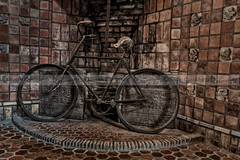 Antique Bicycle (Susan Candelario) Tags: old building castle art castles bicycle architecture vintage bicycling architecturaldetail pennsylvania antique structures palace architectural bicycles nostalgia pa tiles worn doylestown antiques recreation concept conceptual yesterday past eclectic byzantine timeless oldfashioned steampunk architecturaldetails outdoorrecreation sportsrecreation fonthillcastle