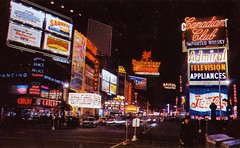 Time Square Broadway New York NY (Edge and corner wear) Tags: new york city beer television sign skyline club night vintage square lights restaurant dance pc big theater neon dancing bright cola time manhattan postcard broadway palace canadian midtown nighttime capitol chrome jungle pepsi asphalt admiral childs budweiser orpheum appliances automat battleground
