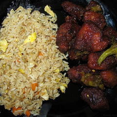 General Tso's chicken and eggy fried rice (Coyoty) Tags: red food hot chicken college cafe rice connecticut egg ct broccoli spicy fried farmington cornercafe generaltsoschicken tunxiscommunitycollege
