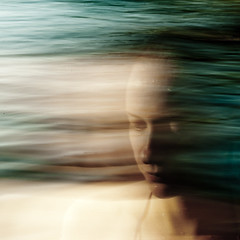 she goes blues (Vasilis Amir) Tags: longexposure sea portrait woman motion blur beach girl square moving experimental ghost move transparency transparent icm  abstractportrait intentionalcameramovement mygearandme mygearandmepremium mygearandmebronze vasilisamir artofvisionpeople