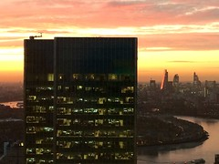 Fire In The Sky (www.paulshearsphotography.com) Tags: city uk sunset red england sky building london yellow thames skyline skyscraper river fire evening cityscape unitedkingdom britain dusk wharf highrise vista docklands theriverthames redsky canary canarywharf e14 londonskyline thethames 30thfloor 10upperbankstreet iphoneography paulshears paulshearsphotography wwwpaulshearsphotographycom