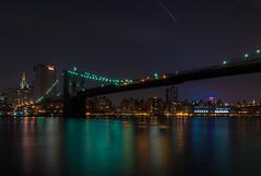 Brooklyn Bridge (michaelaevs) Tags: nyc longexposure newyork night brooklynbridge eastriver empirestatebuilding