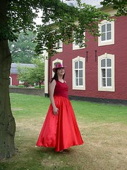 Red ball gown (Paula Satijn) Tags: red girl beauty hat lady garden dress skirt class tgirl gown satin gurl ballgown