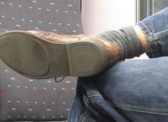 Bare legs on the train (fluppes_be) Tags: sexyfeet bareleg nudeleg fotostream nudehairyleg socksmale nudelegman sexybareleg
