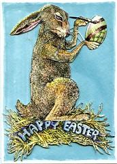 Easter Card Early (molossus, who says Life Imitates Doodles) Tags: easter hare bunny rabbit egg legionpaper stonehengeaqua card