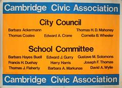 """Cambridge Civic Association: City Council - School Committee"" (Cambridge Room at the Cambridge Public Library) Tags: colorprintsphotographs cambridgecivicassociationcambridgemass cambridgemass politicalactivists politicalposters posters"
