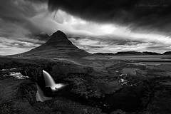 Apocalypse in monochrome (Pete 5D...©...) Tags: kirkjufell kirkjufellsfoss acrus shelf cloud iceland storm formation mountain peak waterfall west coast motion flow stream river bw monochrome black white hill iconic famous landmark dramatic clouds foss