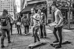 12th Street, 2016 (Alan Barr) Tags: philadelphia 2016 12thstreet street sp streetphotography streetphoto blackandwhite bw blackwhite mono monochrome candid people city ricoh gr skateboard group
