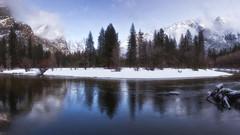 Winter Memories (aidong_ning) Tags: yosemite yosemitenationalpark cooksmeadow yosemitefalls winter snow tree threebrothers mercedriver
