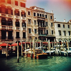 Venician boats 1 (sonofwalrus) Tags: holga film lomo lomography scan venice italy europe venezia italia city buildings architecture canal water boats xpro xprocessing