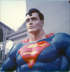 Supermannequin ([jonrev]) Tags: polaroid sx70 alpha 1 land camera instant film color impossible project six flags great america theme amusement park illinois superman dc superhero superheroes comics statue plastic blank stare