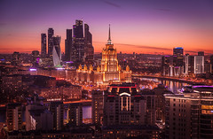 """Hotel """"Ukraine"""" and Moscow city business center (sрirit) Tags: moscow city mibc москвасити москва сити business finance skyline horizon modern architecture russian russia ukraine hotel set blue hour sundown awesome sky beautiful skyscrapers highrise mercury tower evolution federation east west night traffic canon 5d capitals cis river moskva panorama birds eye view lights illumination stalinist sunset amazing downtown financial center soviet best ussr street bridge dusk fantastic colorful gay colors prospect avenue"""