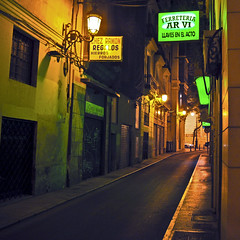 """Nocturnal Alley of Valencia in Spain"" © 19. April 2017 by Silva Wischeropp aka Silva Capitana (SILVA CAPITANA) Tags: valencia night architecture houses urbanlandscape nocturnal alley street nightlights lanterns oldwalls cityview spain travel ambient nightshot nocturnallandscape city town greenlanterns greenlights summernight green yellowlights mysticfeeling urban ghosthour windows doors shops facades citycenter antiquewalls livinghouses buildings nightwalk"