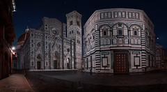 lunar incantation (cherryspicks (on/off)) Tags: florence italy duomo architecture cathedral unesco night moon gothic panorama santamariadelfiore giotto campanille baptistery marble brunelleschi dome brick landmark city urban street cobblestone facade