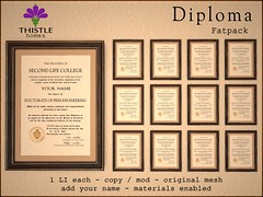 Thistle Diplomas (Liz Gealach) Tags: thistlehomes thistle homes secondlife second life university college diploma chair captain decor furniture wall art deco lizgealach windsor