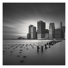 Downtown II (Vesa Pihanurmi) Tags: newyork nyc manhattan skyline longexposure blackandwhite monochrome piles cityscape architecture skyscrapers
