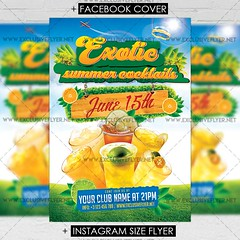 Exotic Cocktails - Premium A5 Flyer Template (ExclusiveFlyer) Tags: exclusiveflyer psd freeflyer freepsd beach break club disco exotic flower fruit girl holiday house jungle music night nightclub palm paradise summer summerparty sunset tropical tropicalsummer water