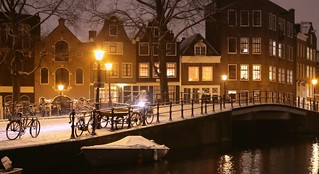 A beautiful  winter night has fallen in Amsterdam