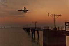 Lovely Landing (briantang0703) Tags: plane hongkong river water reflection sea sun sunset column sky cloud 35mm stone railing balustrade landing 5d markiii canon night light flying