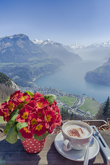 Cappuccino with the view... (dia_mantine Photography) Tags: switzerland urmiberg alps mountains hdr cappuccino schwyz hiking