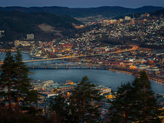 Drammen by night (andreassofus) Tags: drammen drøbak spiralen spiraltoppen view viewpoint night evening buildings light city cityscape water fjord oslofjorden trees travel travelphotography norway visitnorway canon manfrotto