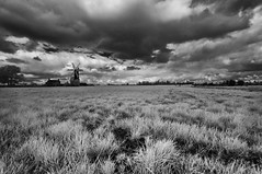 Looks like rain (David Feuerhelm) Tags: landscape wideangle lowviewpoint clouds sky weather stormy fens lincolnshire sibsey nikkor infrared contrast outside countryside england scenery monochrome blackandwhite bw silverefex nikon d90