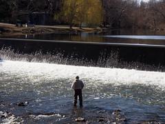 Fishing at the Weir (pilechko) Tags: clinton nj fishing fisherman water river weir southbranch raritanriver rapids falls color