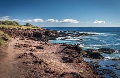 Path Along Shore (helenehoffman) Tags: path ocean hikingpath volcanic water island trail lanai pacificocean hawaii