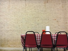 meal (ashleemdunlap) Tags: red white chairs table ketchup checkered brick wall paper towels hole restaurant plain basic small town diner iphone 6s cellphone cell phone alien skin exposure x indoor inside