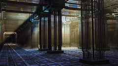 Pipe steel hall (eXalk) Tags: steel pipes hall allone design digital dream dark fantasy fractal mandelbulb3d model mesh art abstract architektur