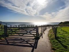 IMG_20170415_090656_083 (lewi1553) Tags: fence morning light sea coast northumberland berwickupontweed weather clouds