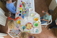 Happy Easter (aaronrhawkins) Tags: easter eggs cookies colors paint frosting tulips flowers kids children boy girl overhead dye colorful kitchen holiday celebrate decorate fun family joshua jessica aaronhawkins home
