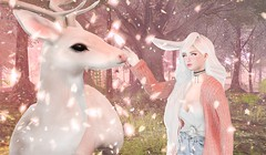 Guardian Angel (Kasumy Haiku) Tags: second life secondlife spring pink 3d people animal reindeer fawn virtual worlds game cute forest environment landscape photoshop edit petals cherry sakura tree maitreya rabbit bento catwa