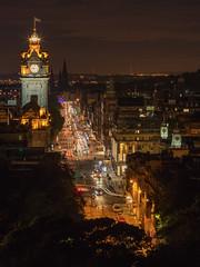 Balmoral Clock from Calton Hill, Edinburgh, Scotland (MelvinNicholsonPhotography) Tags: edinburgh scotland caltonhill balmoralclock night lights cartrails longexposure
