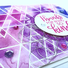 SSS Abstract Triangles Pink Card Detail (teamclark@rocketmail.com) Tags: simon says stamp abstract triangles watercolor embossing verve sequins card cardmaking thank you