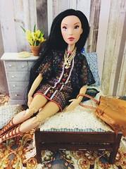 Disney Pocahontas Doll (The Dollhouse of Usher) Tags: pack fashion boho modification mod hybrid newbody rebodied barbie tomove made doll pocahontas disney